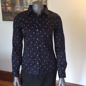 Banana Republic Navy/Pink Polka Dot Shirt